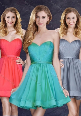 2016 Cheap Price Turquoise Short Prom Dress with Belt