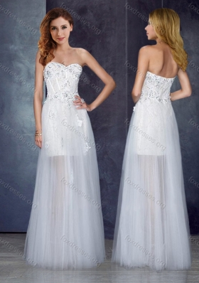 2016 Cheap Short Inside Long Outside Tulle White Prom Dress with Appliques and Beading