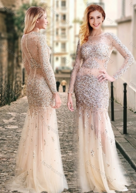 2016 Column High Neck Beaded Champagne Unique Prom Dress with Long Sleeves
