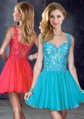 2016 New Style Straps Short Teal Unique Prom Dress with Appliques