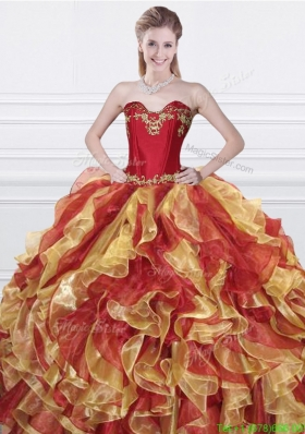 2016 Romantic Applique and Ruffled Organza Quinceanera Dress in Red and Yellow
