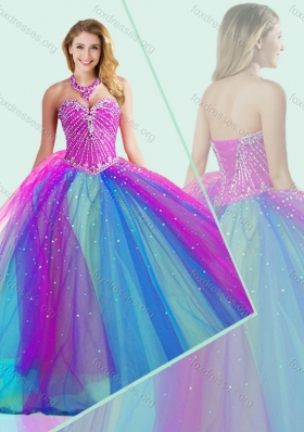 Big Puffy Beaded 2016 Quinceanera Dress in Multi Color