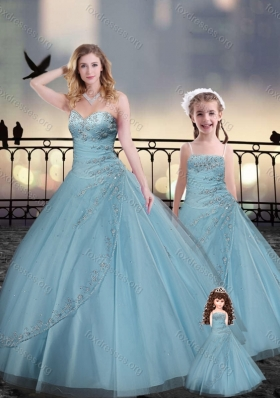 Custom Fit Light Blue Macthing Princesita With Quinceanera Dresses with Beading and Appliques