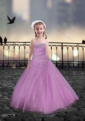 Spaghetti Straps Beaded Pink Pretty Girls Party Dresses in Tulle