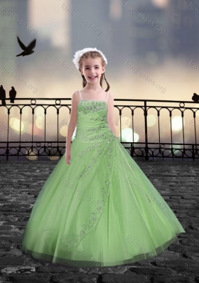Spaghetti Straps Spring Green Pretty Girls Party Dresses with Beading