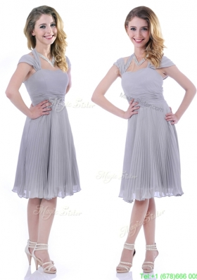 Modest Cap Sleeves Tea Length Grey Mother of the Bride Dress with Pleats