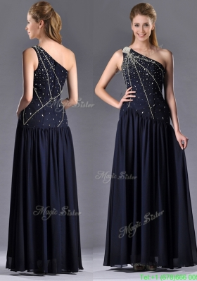 Modest Column One Shoulder Beaded Mother of the Bride Dress in Navy Blue