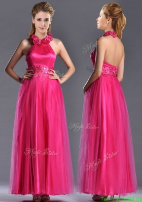 Modest  Hot Pink Mother of the Bride Dress with Handcrafted Flowers Decorated Halter Top
