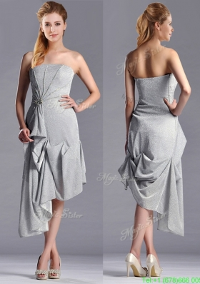 Modest Side Zipper Strapless Silver Mother of the Bride Dress in Asymmetrical