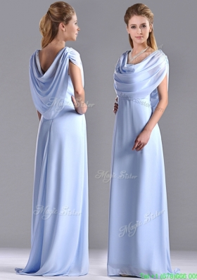 Modest  Spaghetti Straps Light Blue Long Mother of the Bride Dress in Chiffon