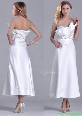 Most Popular Asymmetrical Side Zipper White Mother Dress in Tea Length