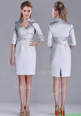 Most Popular Column Belted with Beading Silver Mother Dress with V Neck