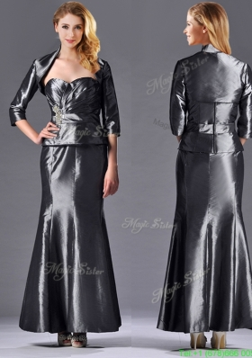 Most Popular Mermaid Sweetheart Ankle-length Beaded Silver Mother Dress with Jacket