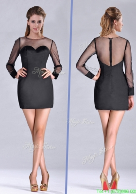Most Popular See Through Column Bateau Black Mother Dress with Long Sleeves