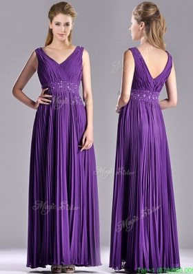 Most Popular V Neck Purple Mother Dress with Beading and Pleats