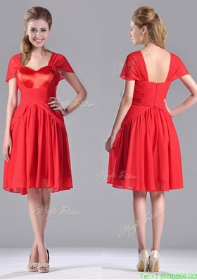 New Arrivals Empire Short Sleeves Chiffon Mother of the Bride Dress in Red