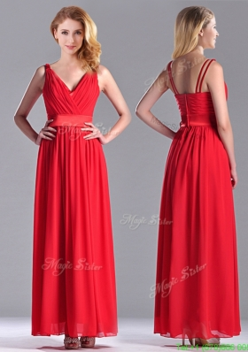The Super Hot Empire V Neck Red Bridesmaid Dress in Ankle Length