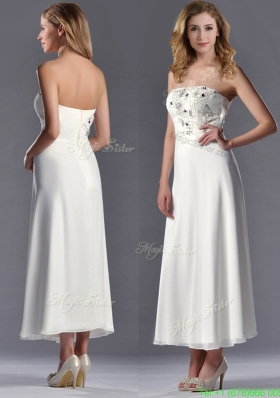 Beautiful Applique with Beading White Mother Dress in Tea Length