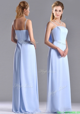 Cheap Chiffon Spaghetti Straps Long Bridesmaid Dress with Zipper Up