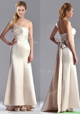 Cheap Off White Column Strapless Mother Dress with Brush Train