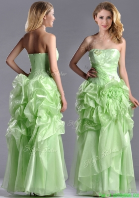 Classical Beaded and Bubble Organza Prom Dress in Yellow Green