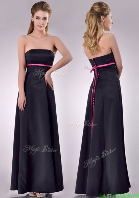 Classical Black Ankle Length Bridesmaid Dress with Hot Pink Belt