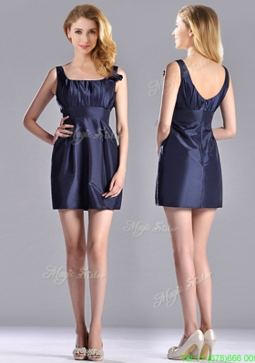 Hot Sale Square Handcrafted Flower Short Prom Dress in Navy Blue