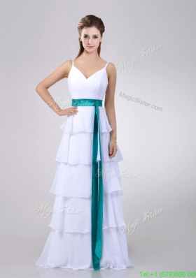 Lovely White Prom Dress with Ruffled Layers and Turquoise Belt