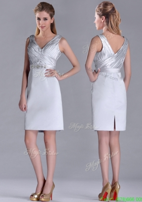 Modern V Neck Belted with Beading Prom Dress in Silver
