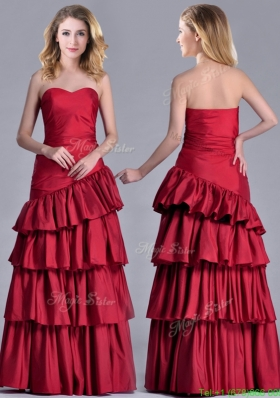 Modest Taffeta A Line Wine Red Prom Dress with Ruffled Layers