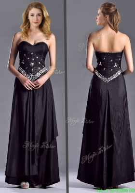 Most Popular Discount Column Sweetheart Taffeta Black Mother Dress with Beading