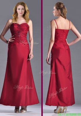 Most Popular Exclusive Spaghetti Straps Wine Red Mother Dress with Beading and Ruching
