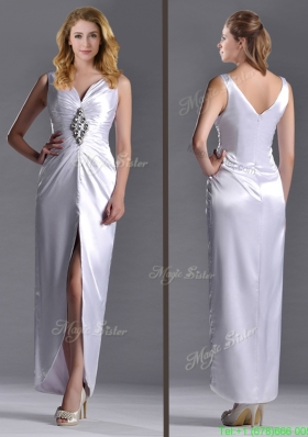 Most Popular Exquisite Column V Neck  Mother Dress with Beading and High Slit