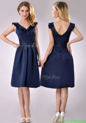 Beautiful V Neck Navy Blue Empire Prom Dress with Cap Sleeves
