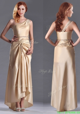 Champagne Ankle-length Beaded Side Zipper Mother Dress with One Shoulde