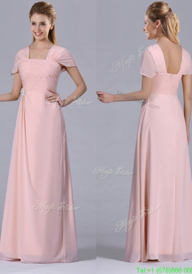 Column Square Chiffon Light Pink Chiffon Ruching Mother Dress for Homecoming