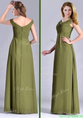 Discount Empire V Neck Chiffon Olive Green Mother Dress with Ruching