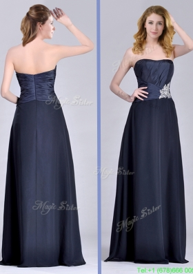 Exquisite Empire Satin Beaded Long Mother Dress in Navy Blue