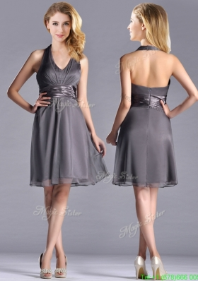 Romantic Chiffon Halter Top Knee Length Junior Prom Dress in Grey