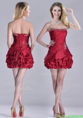 Classical Taffeta Wine Red Short Prom Dress with Beading and Bubbles