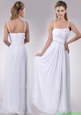 Latest Handcrafted Flower White Bridesmaid Dress with Spaghetti Straps