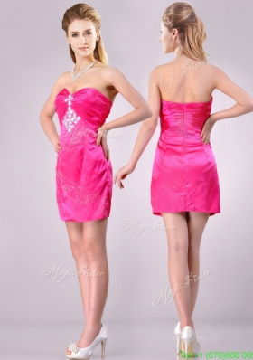 Discount Applique with Beading and Rhinestoned Bridesmaid Dress in Hot Pink