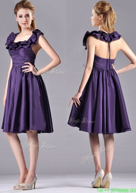 Elegant Halter Top Backless Short Prom Dress in Dark Purple