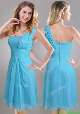 Elegant One Shoulder Ruched Chiffon Bridesmaid Dress in Aqua Blue