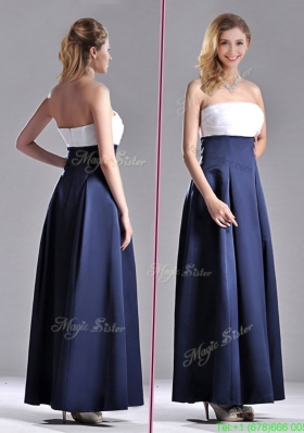 Elegant Strapless Ankle Length Prom Dress in Navy Blue and White