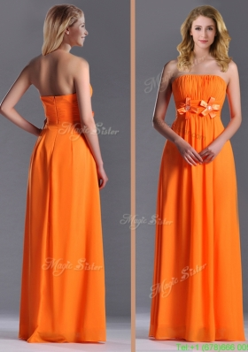 Empire Strapless Ruching Chiffon Long Bridesmaid Dress in Orange
