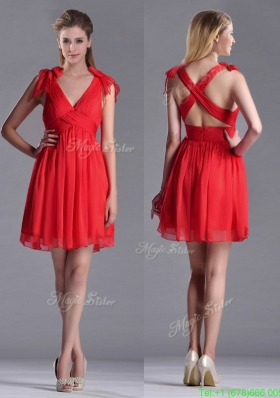 Exclusive V Neck Criss Cross Prom Dress with Ruching and Bowknot