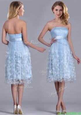 Gorgeous Empire Tea Length Applique Tulle Prom Dress in Light Blue