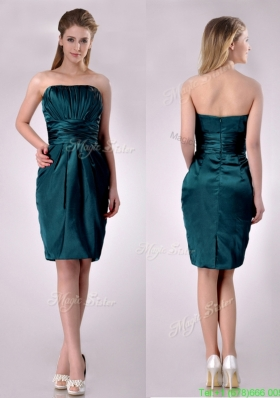 Exclusive Column Ruched Decorated Bodice Prom Dress in Hunter Green
