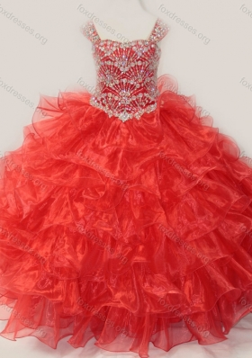 Ball Gown Straps Organza Beaded Bodice Lace Up Girls Party Dress in Red